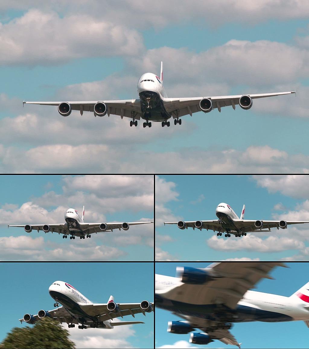 飞机着陆实拍视频素材