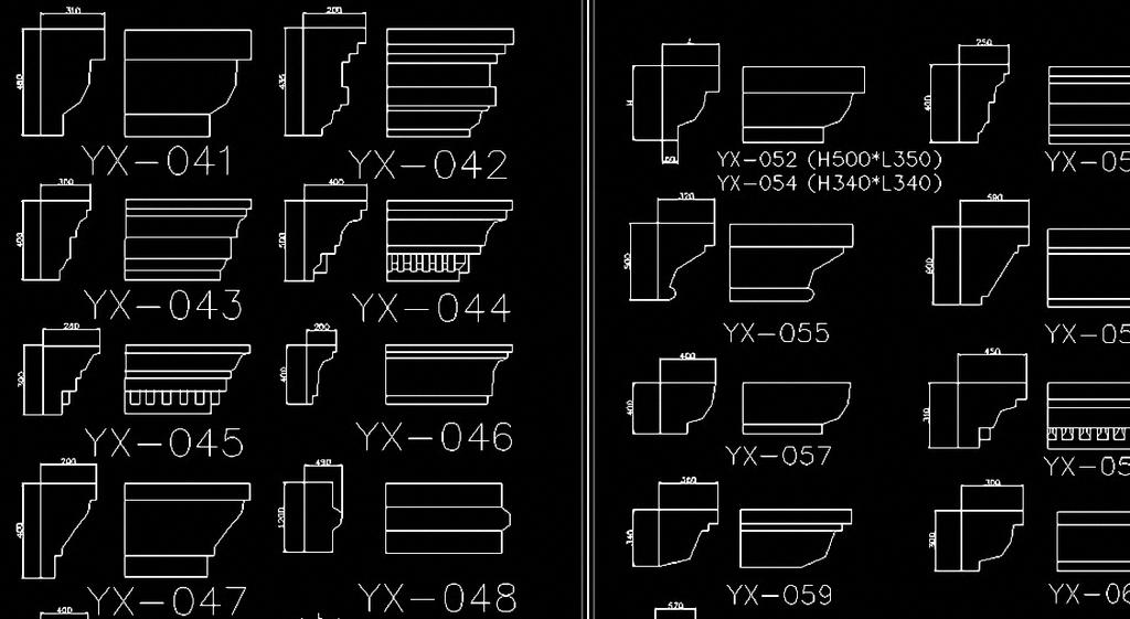 grc欧式檐线阴角线cad图图片