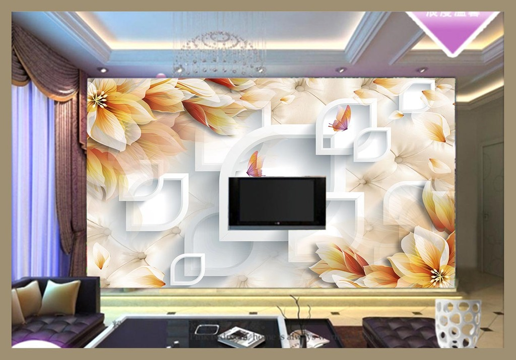 高清手绘透明花电视背景墙