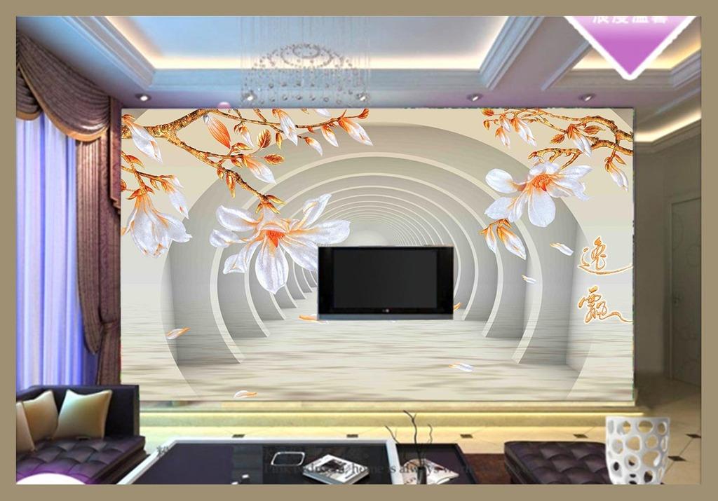 高清白色玉兰花电视背景墙
