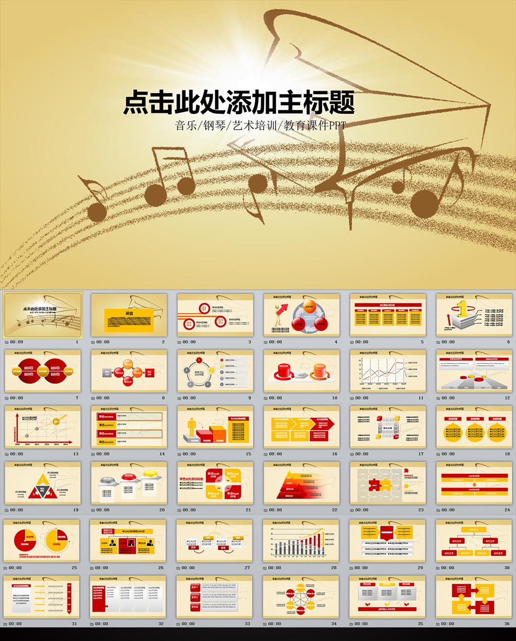音乐钢琴演奏教学培训课件动态ppt模板