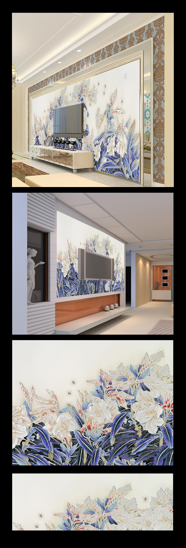 电视背景墙壁纸壁画玉兰花图片