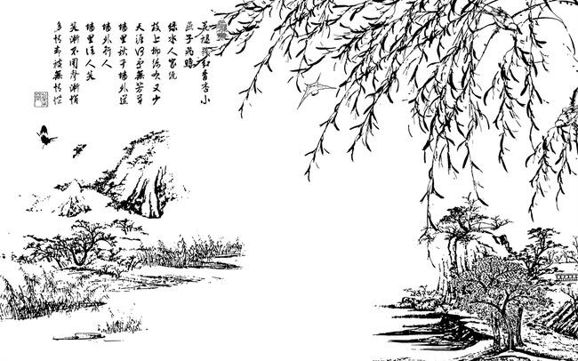 柳树国画手绘贴图