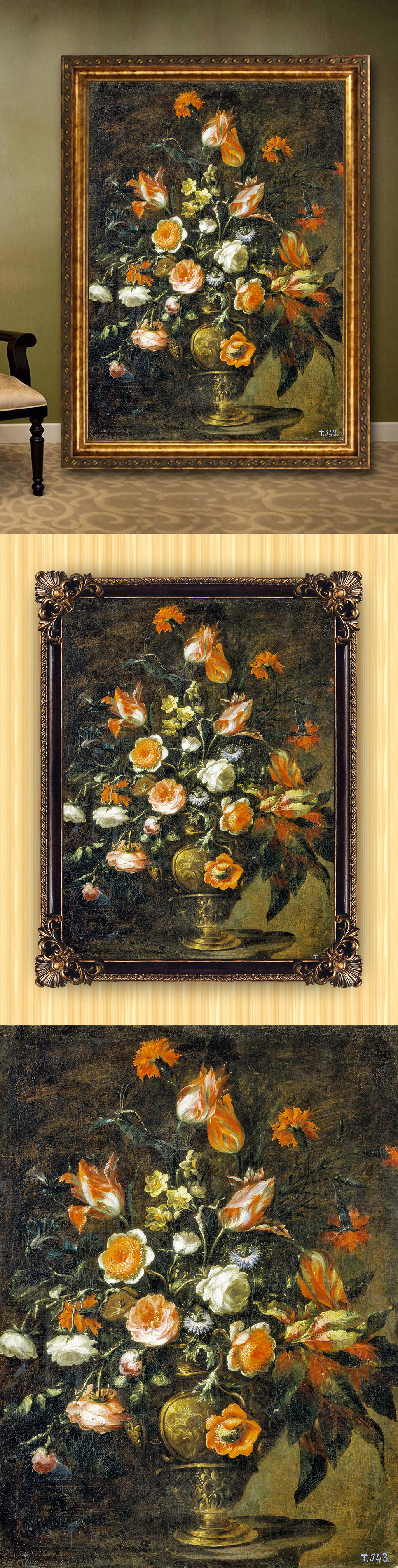 手绘高清古典风格静物花卉油画