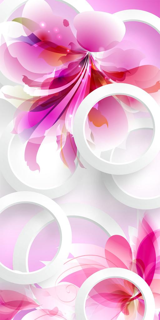 3d立体唯美手绘粉色花卉玄关背景墙