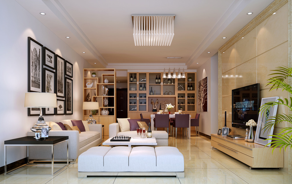 现代风格客厅餐厅3d模型和3d效果图下载