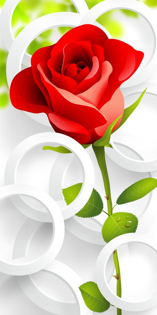 屏风 走廊      瓷砖背景墙 手绘 抽象 浪漫 玫瑰 花朵 花卉 3d 立体