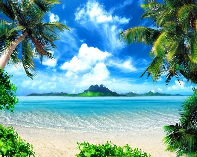 沙滩背景墙海滩椰树大海蓝天白云中式