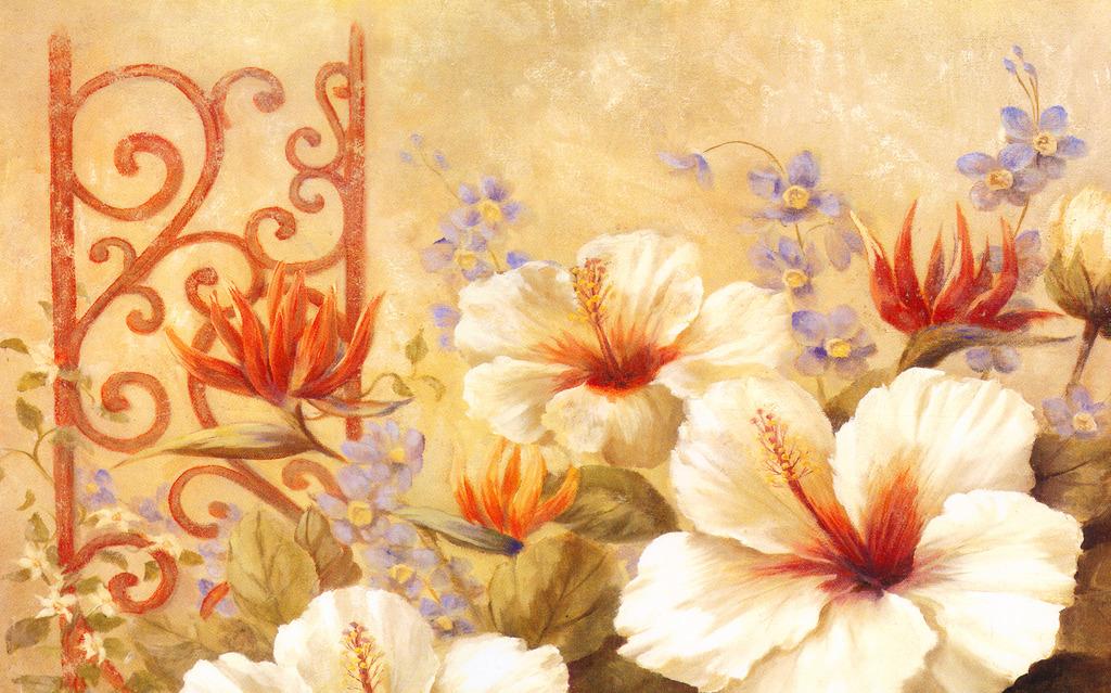 手绘鲜花油画壁画客厅背景墙