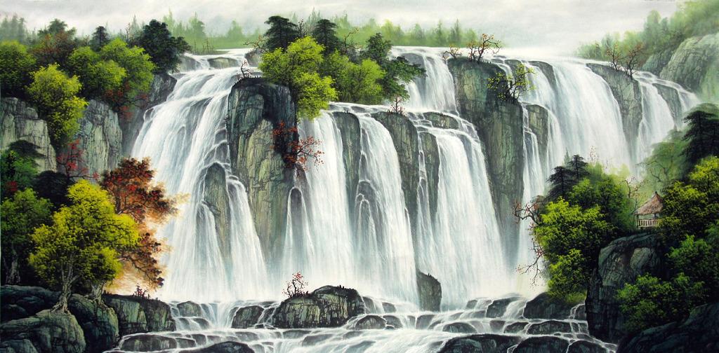 瀑布风水画山水画风景