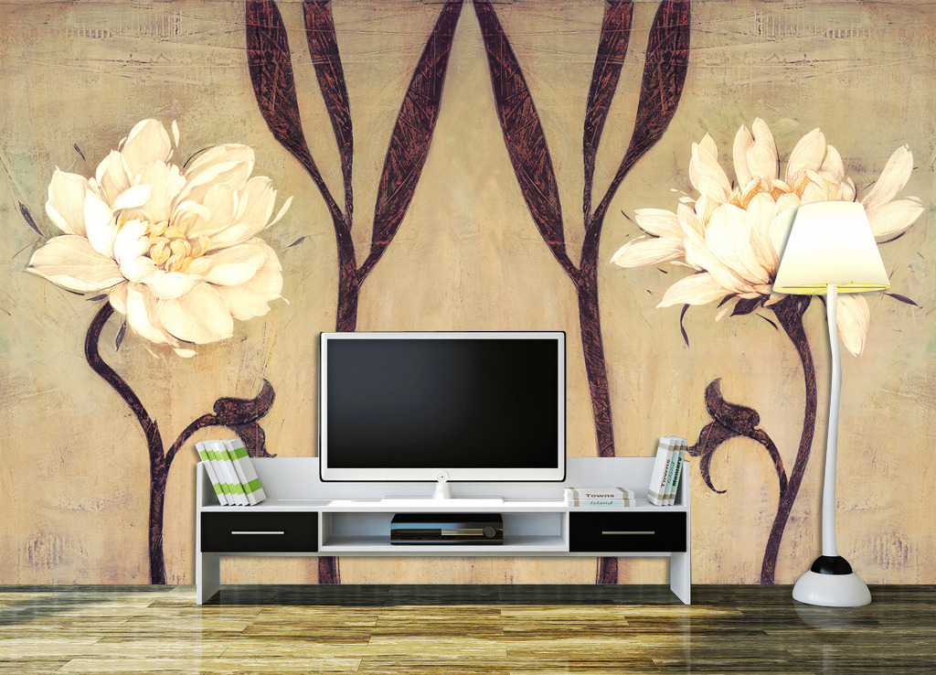 复古手绘花卉背景墙壁画图片下载