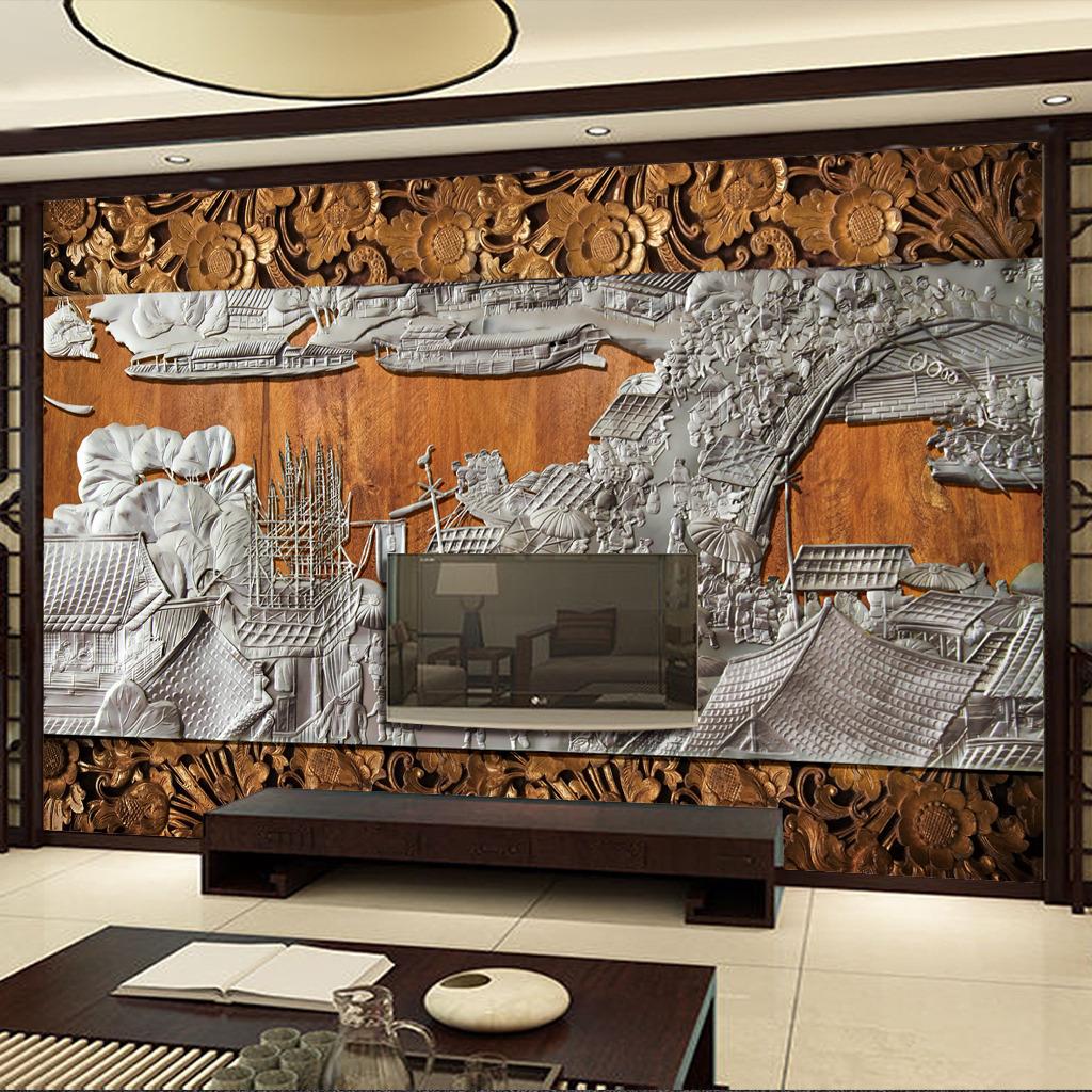 室内背景墙 形象墙 装饰画 木雕 清明上河图 雕刻 中国风 复古 画