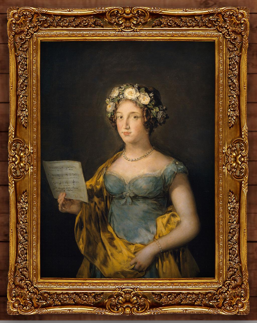 拿乐谱的蓝衣女孩古典主义油画