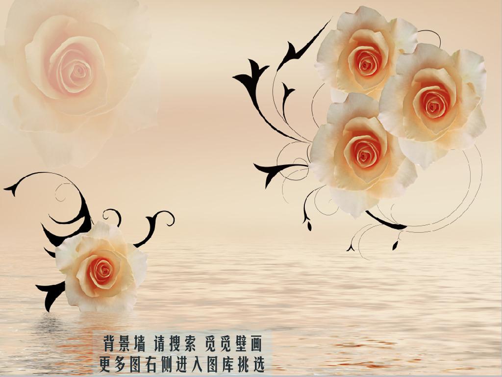 现代简约花卉玫瑰觅觅壁画高清图片下载(图片编号)墙