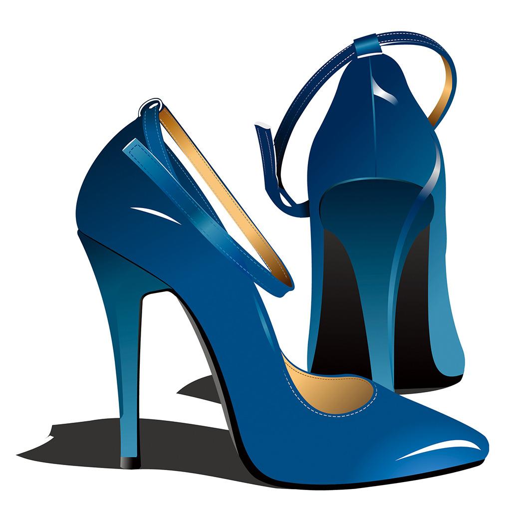 高跟鞋女鞋红蓝鞋卡通壁画装饰画中堂画背景