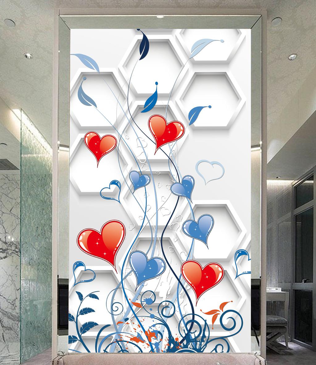 3d立体花朵玄关背景画
