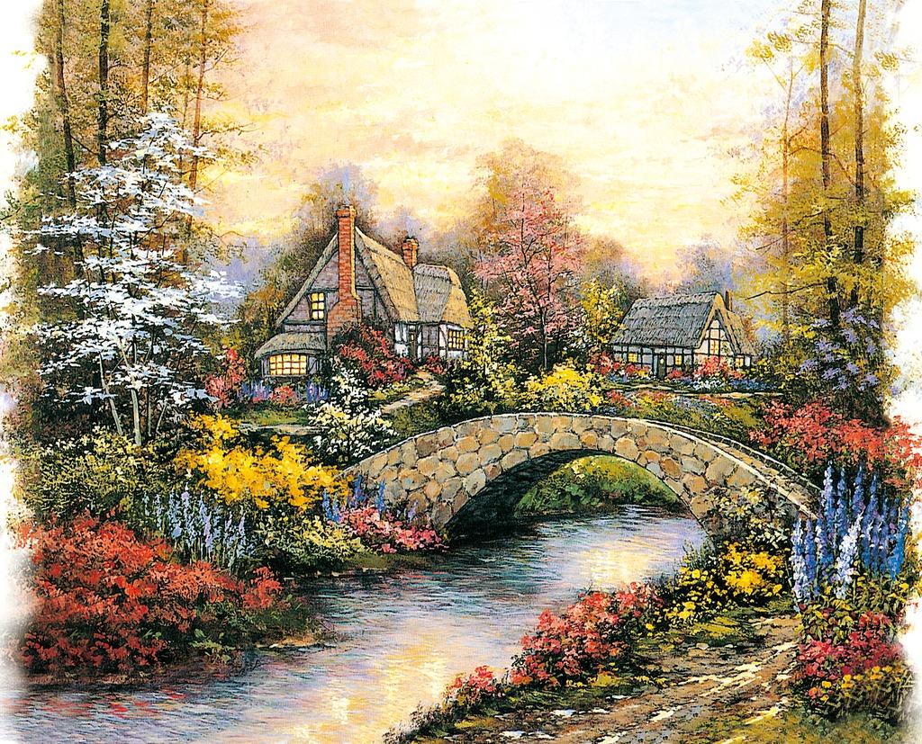 唯美自然乡村小河小桥树林高清油画图片
