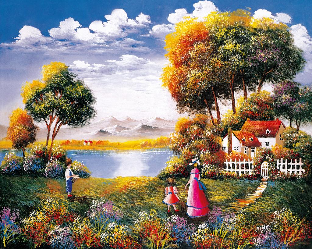 乡村田园风景花卉油画壁画图片下载