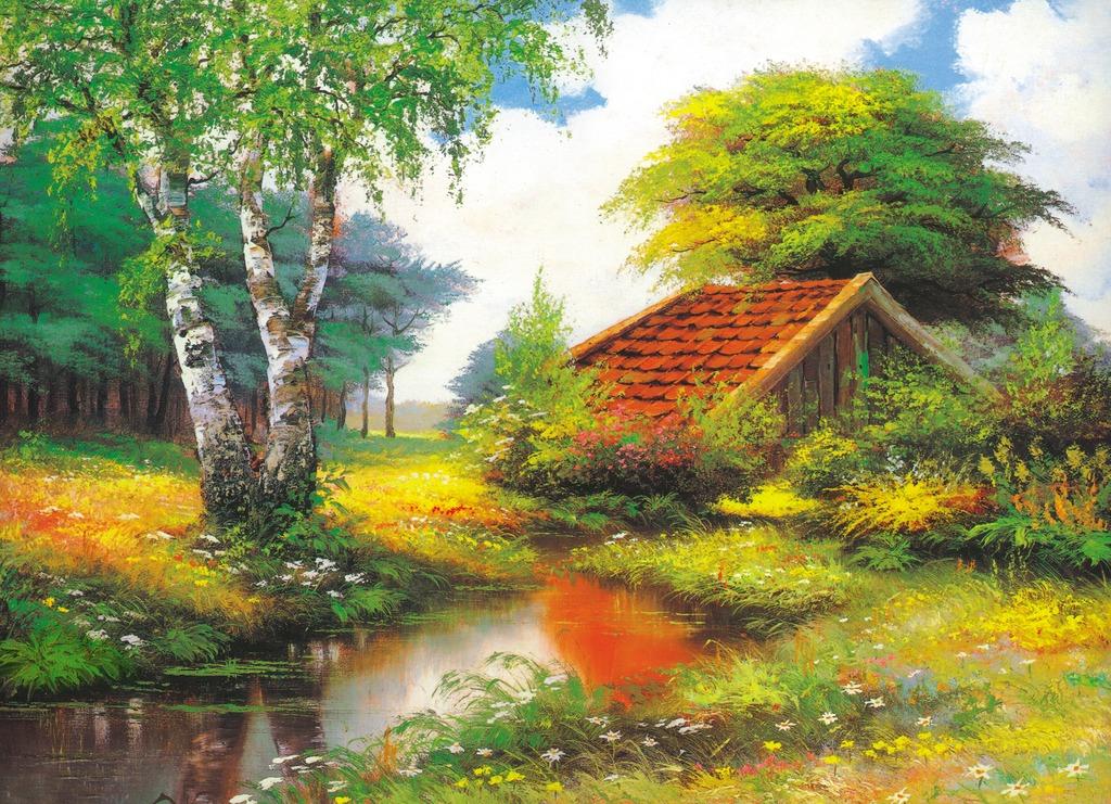 乡村油画田园风景乡间树林小河木屋油画高清图片下