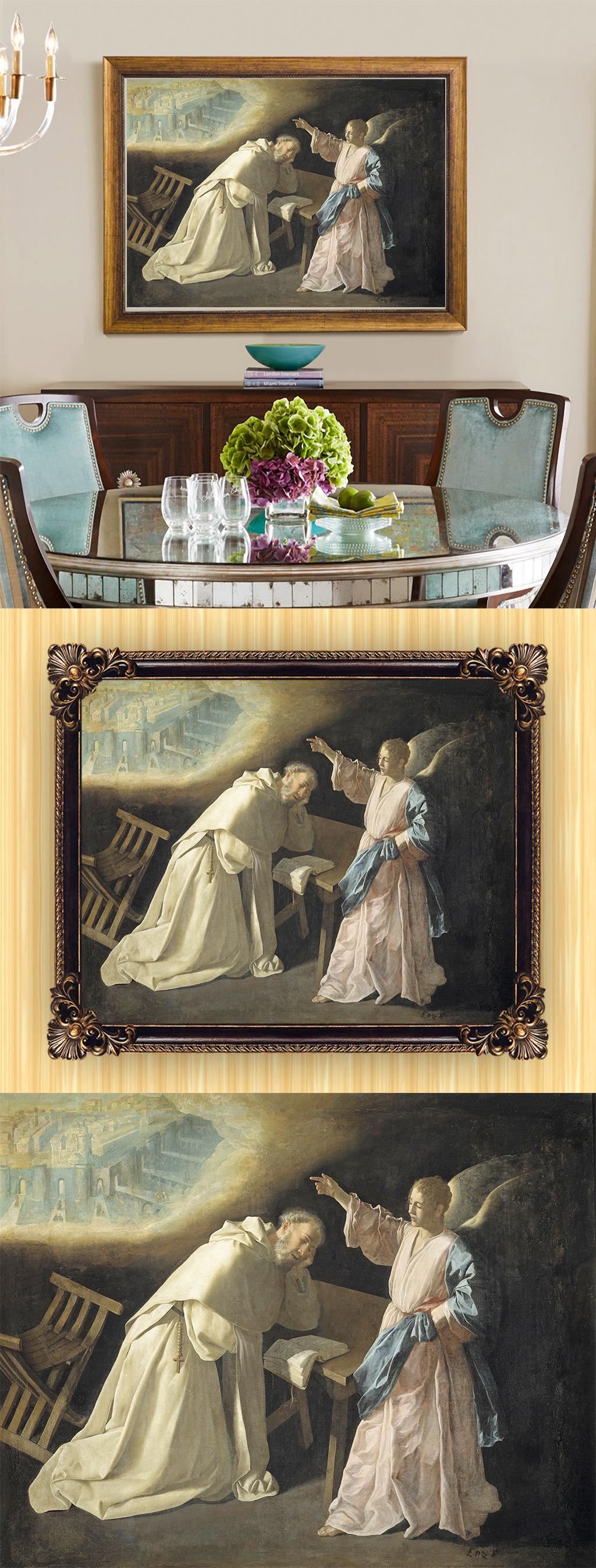 高清手绘欧式古典写实风格天使油画
