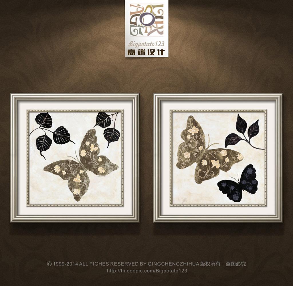 现代简约蝴蝶树叶装饰画