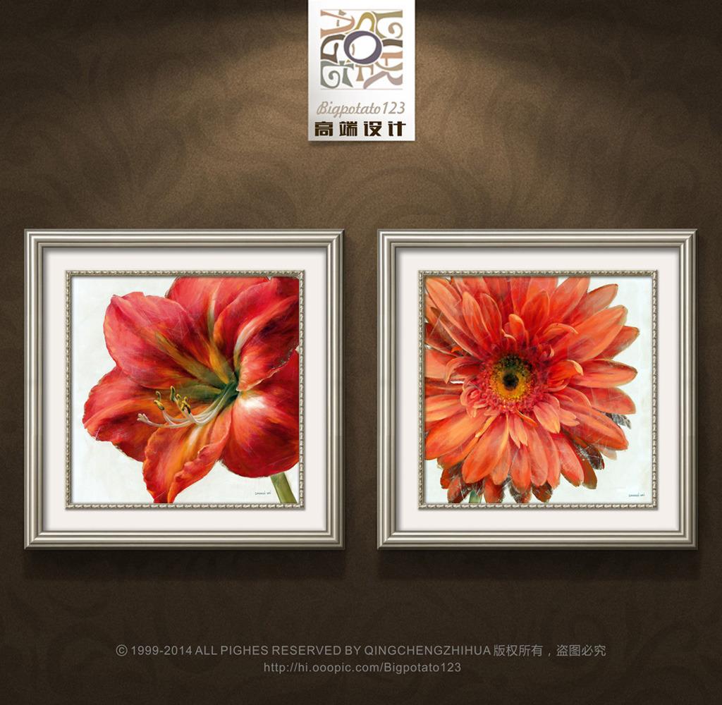 装饰画有框画画芯复古欧式 美式 田园 小清新 油画 水彩 花卉 现代