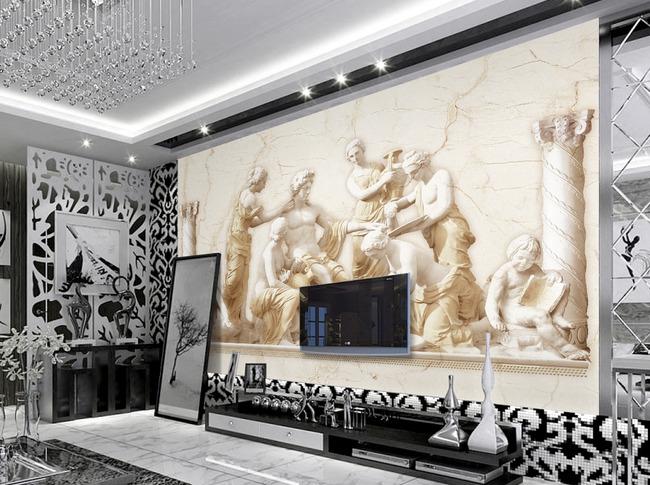 欧式浮雕雕塑人物客厅电视背景墙壁画