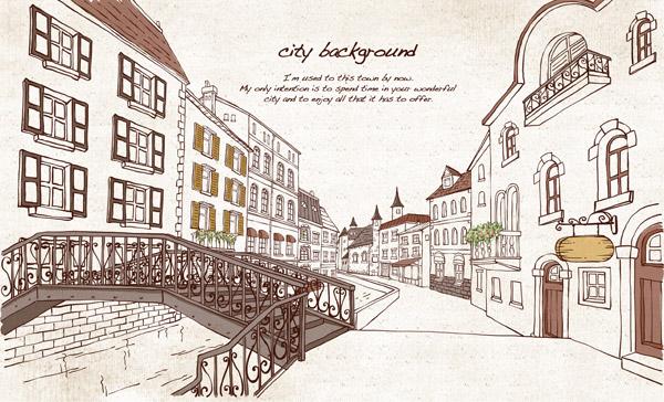 手绘欧洲城镇街道