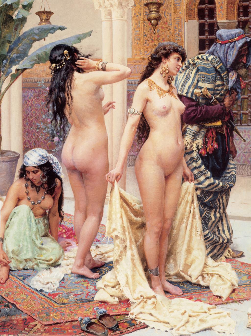 洗浴后的少女女子油画古典人物油画