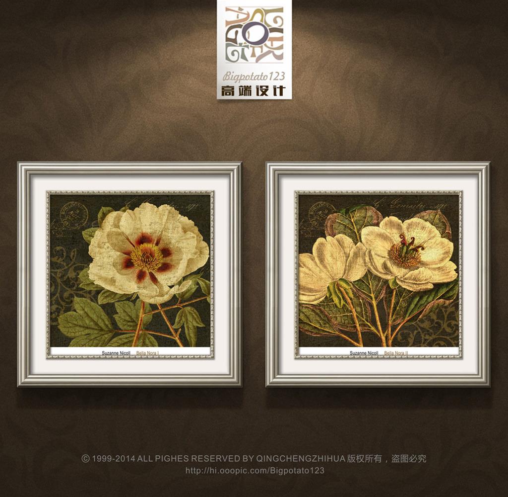 美克美家牡丹茶花花卉装饰画图片