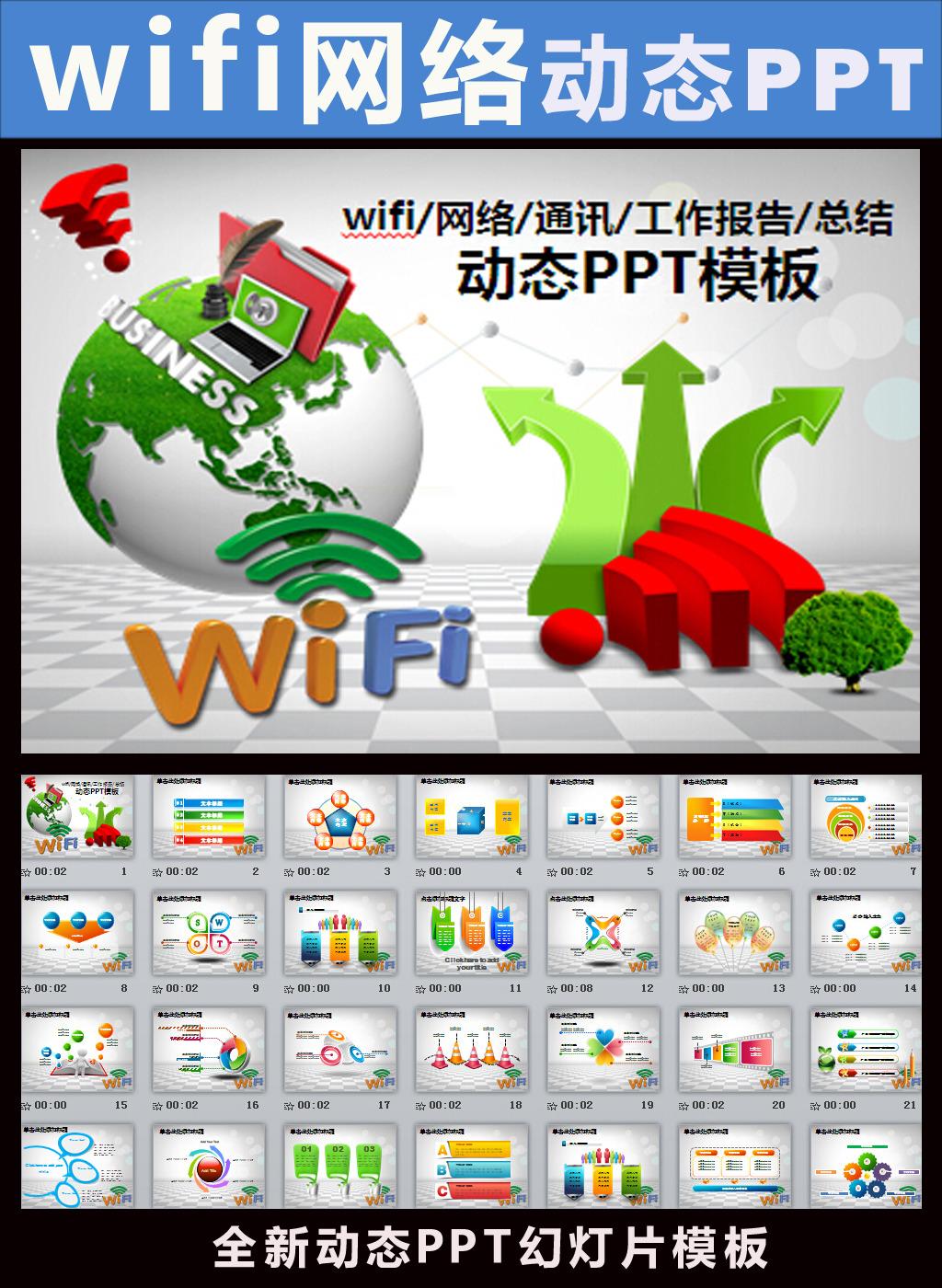 wifippt模板电子商务网络动态ppt模板下载(图片编号