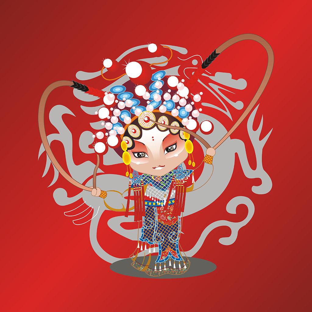 京剧人物国粹花旦戏子壁画装饰画中堂画背景