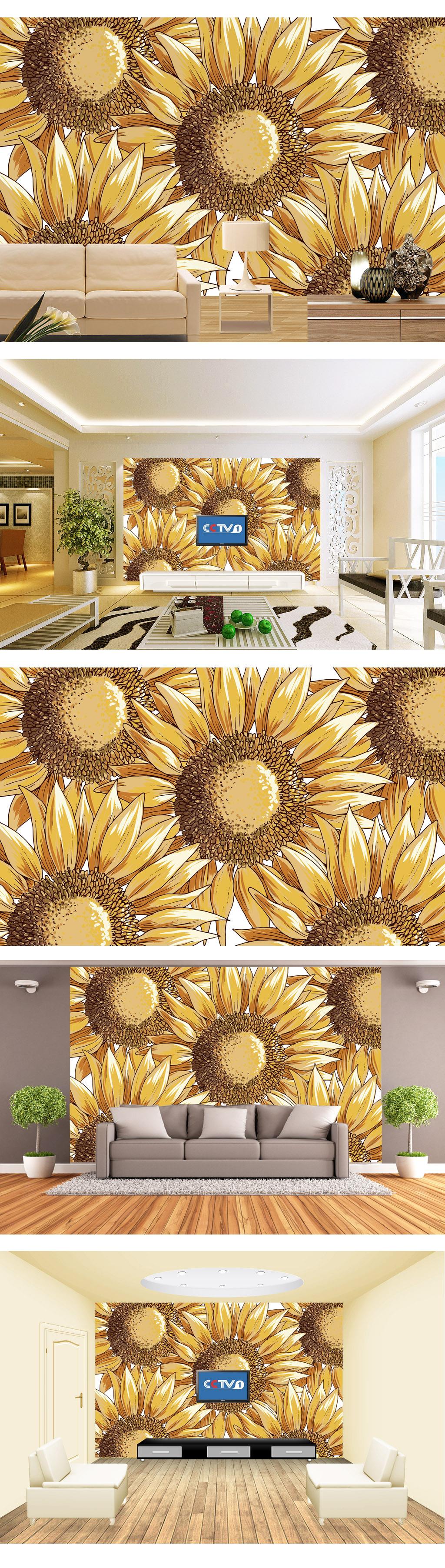 艺术手绘太阳花向日葵电视背景墙