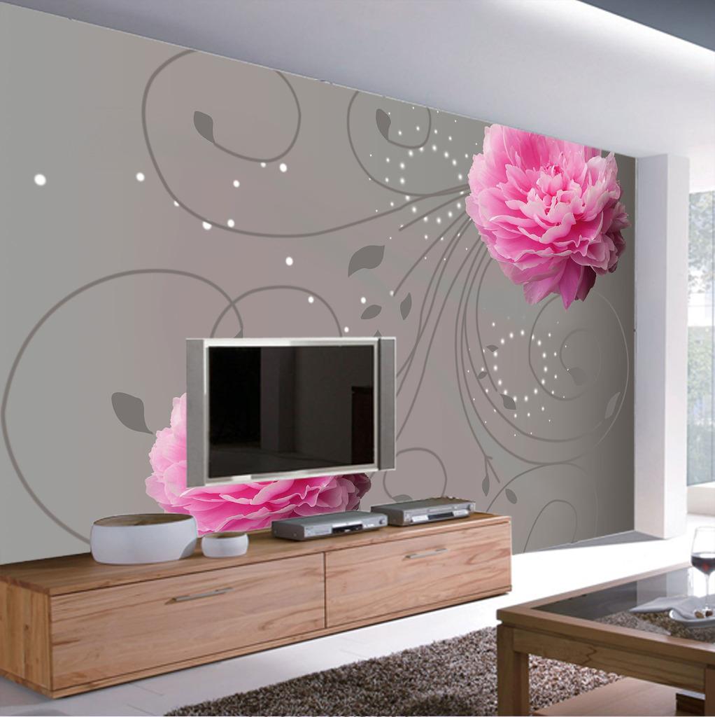 手绘粉玫瑰线条创意电视背景墙psd素材
