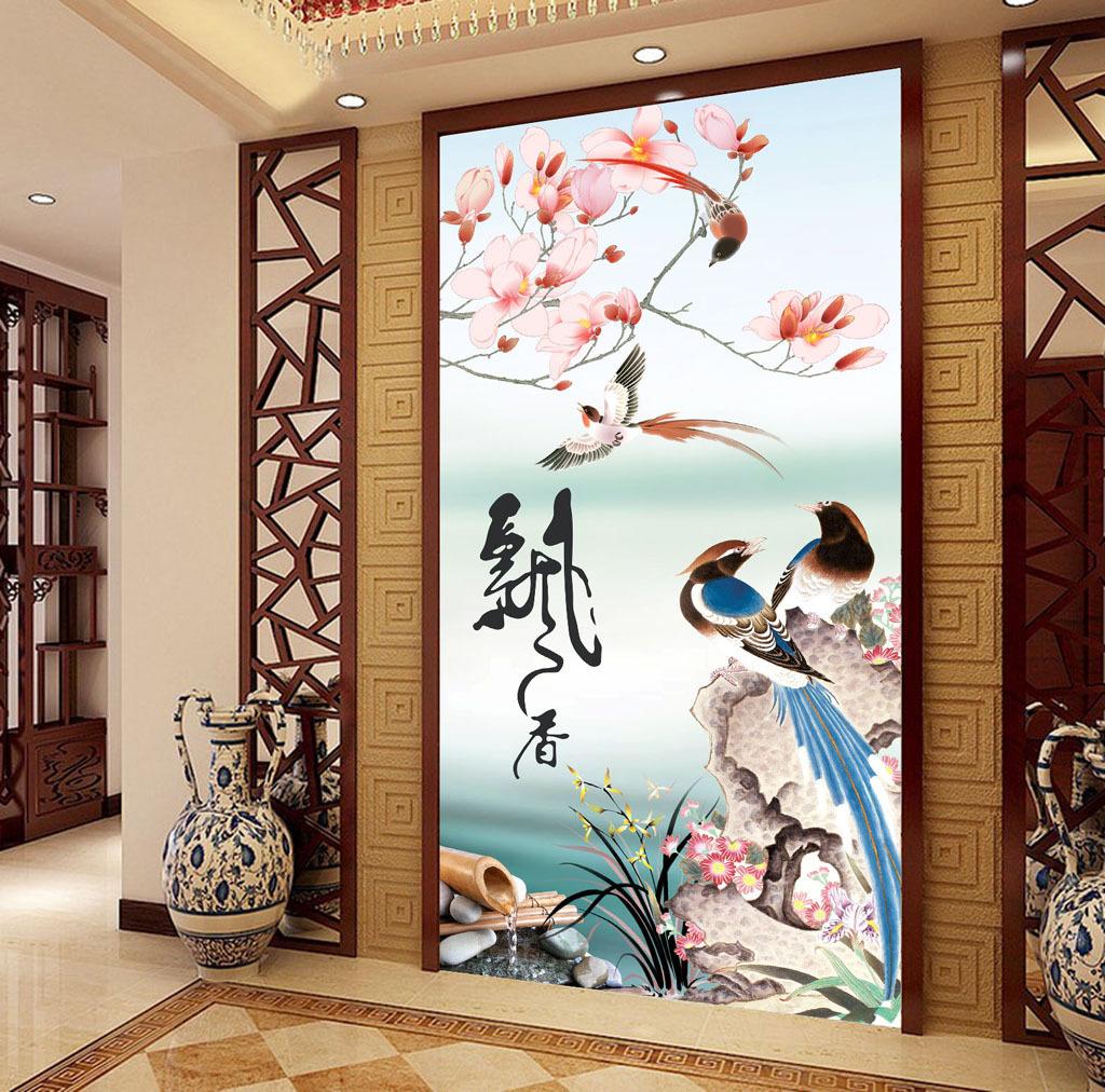 山水画飘香中式玄关背景墙图片