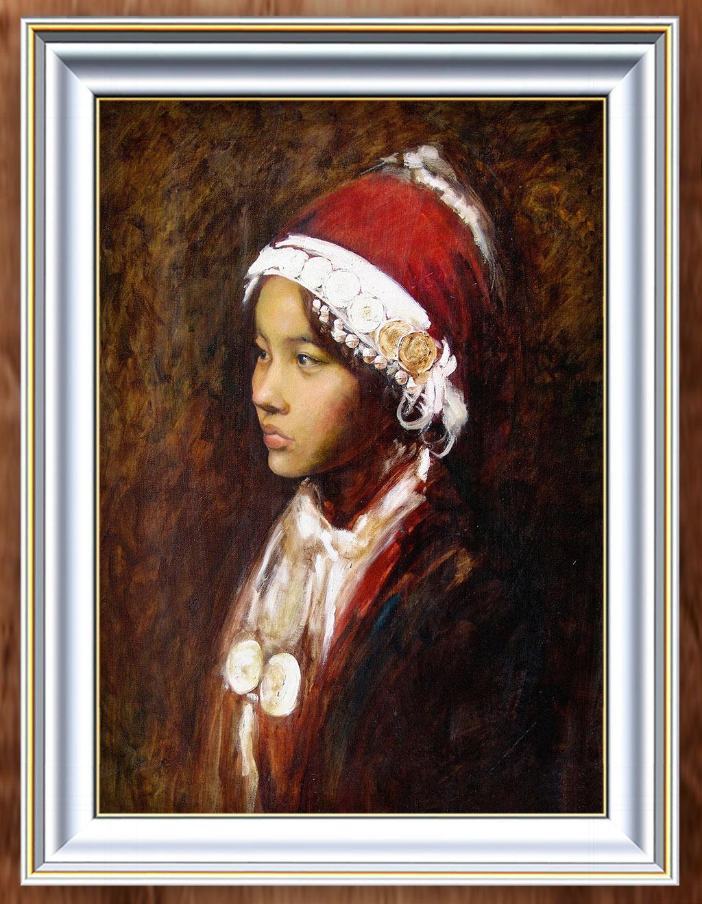 一个少数民族少女人物油画