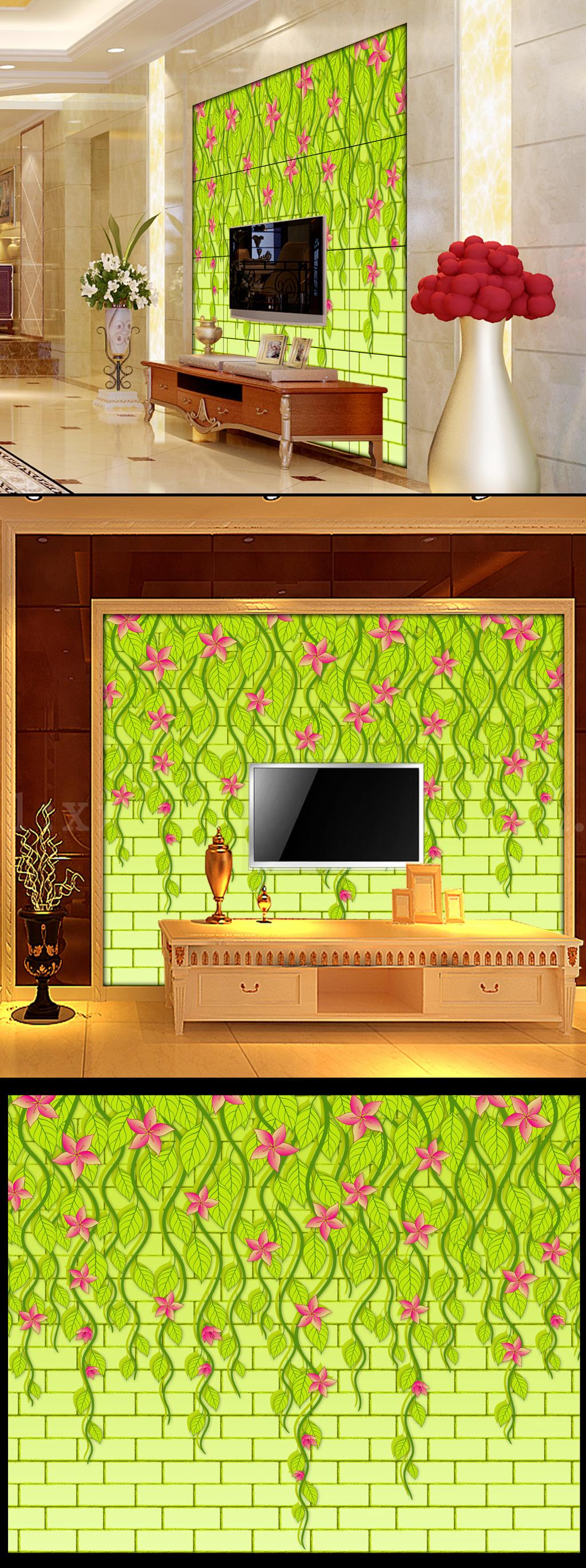 手绘藤蔓电视背景墙
