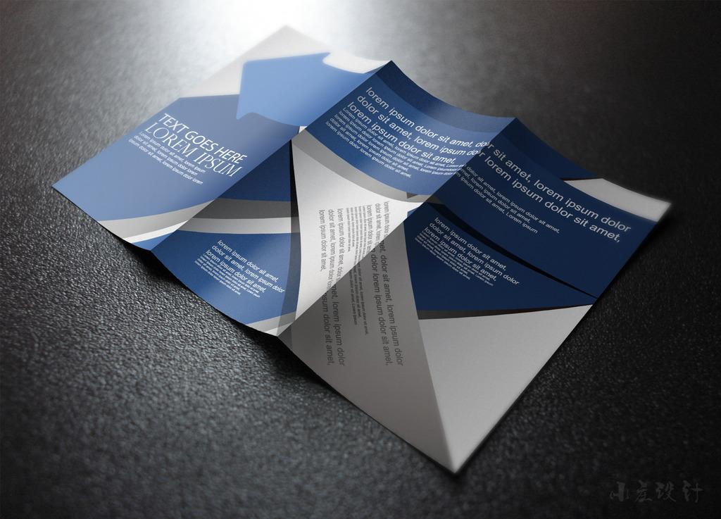蓝色国际商务英语大气三折页