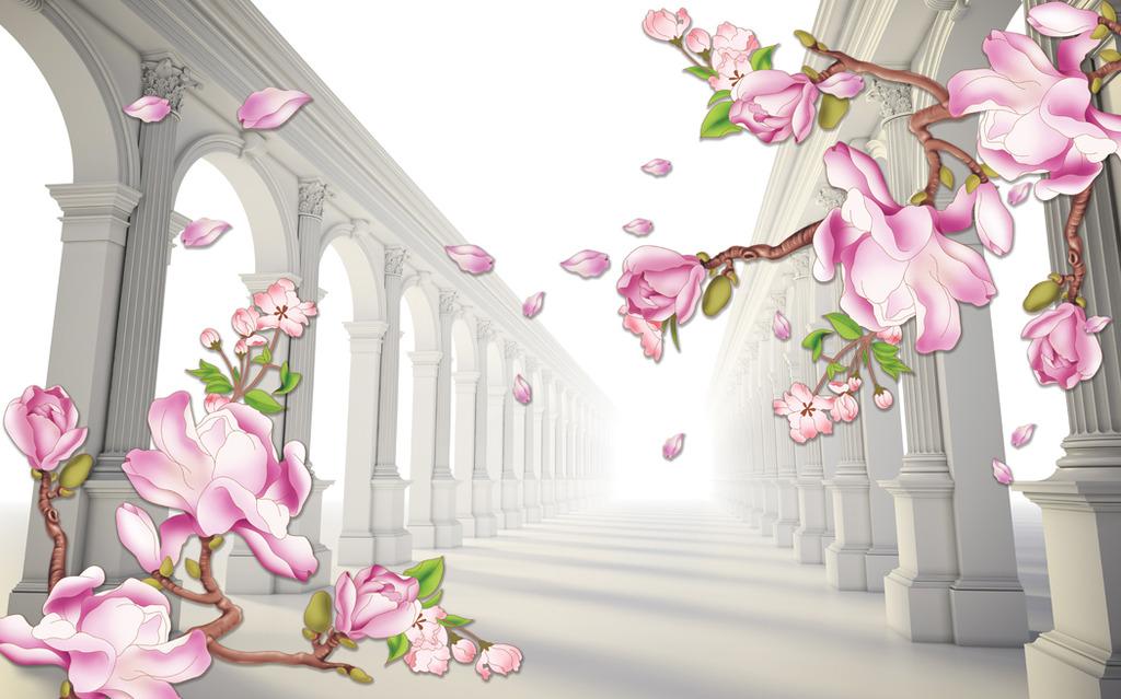 欧式背景立体花卉电视沙发背景图