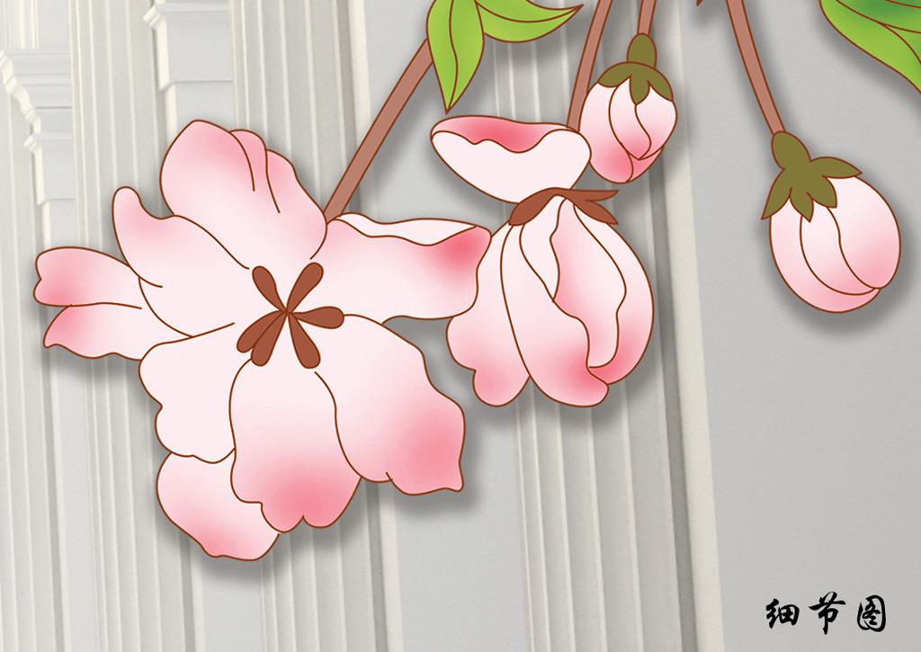 欧式背景立体花卉电视沙发背景图高清图片下载(图片)