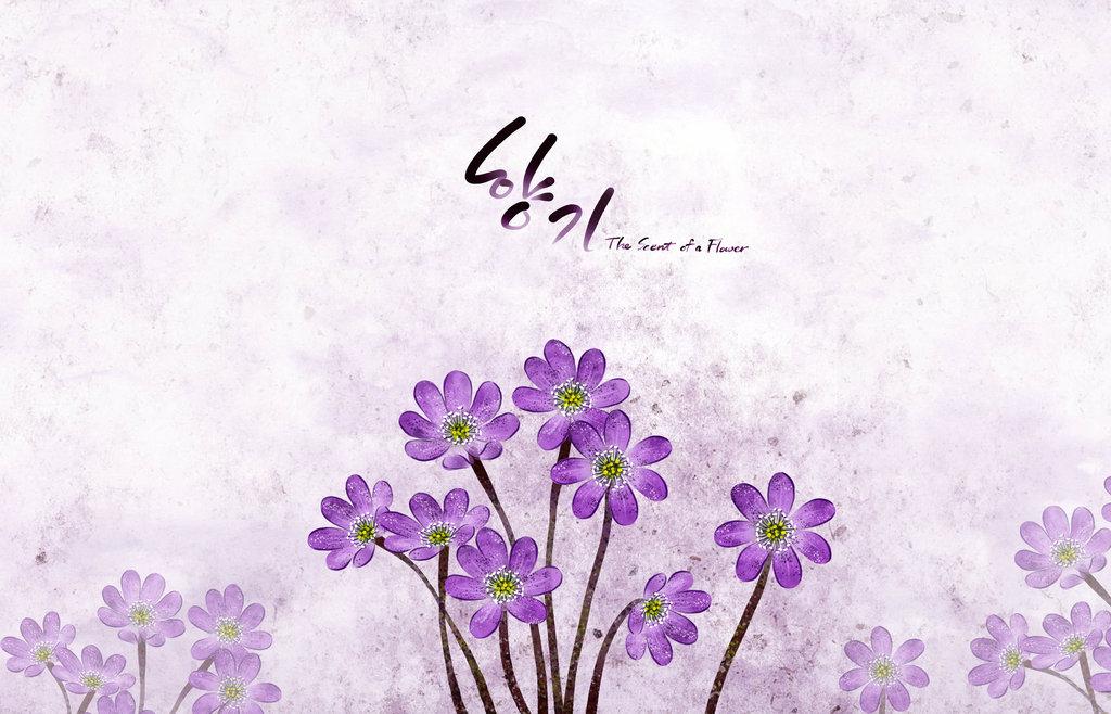 紫色花蕾高清手绘油画分层图片下载