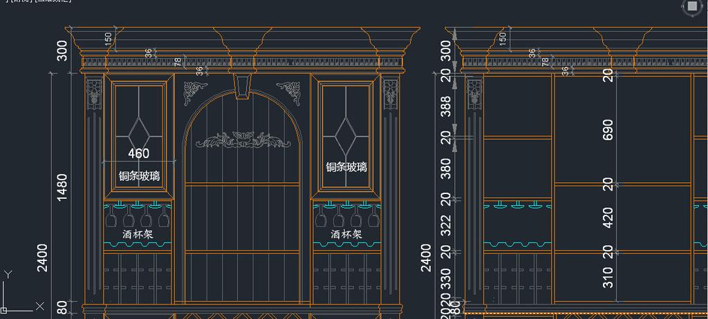 实木经典欧式酒柜cad模板下载 实木经典欧式酒柜cad图片下载 实木经典