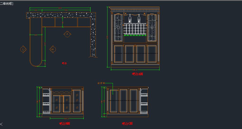 实木吧台酒柜cad模板下载(图片编号:12435936)_家具
