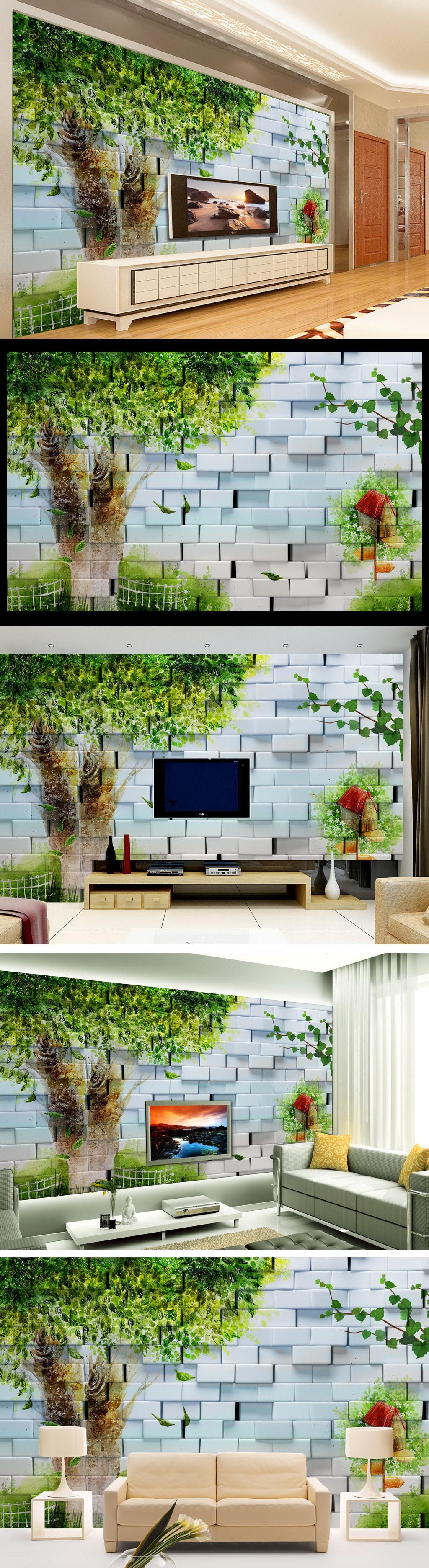手绘大树唯美3d电视背景墙装饰画