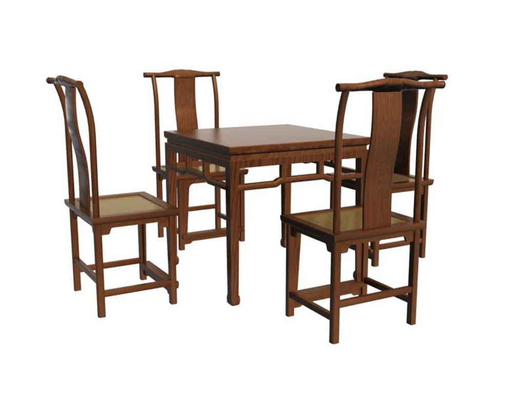 中式餐桌椅3d模型(含贴图)