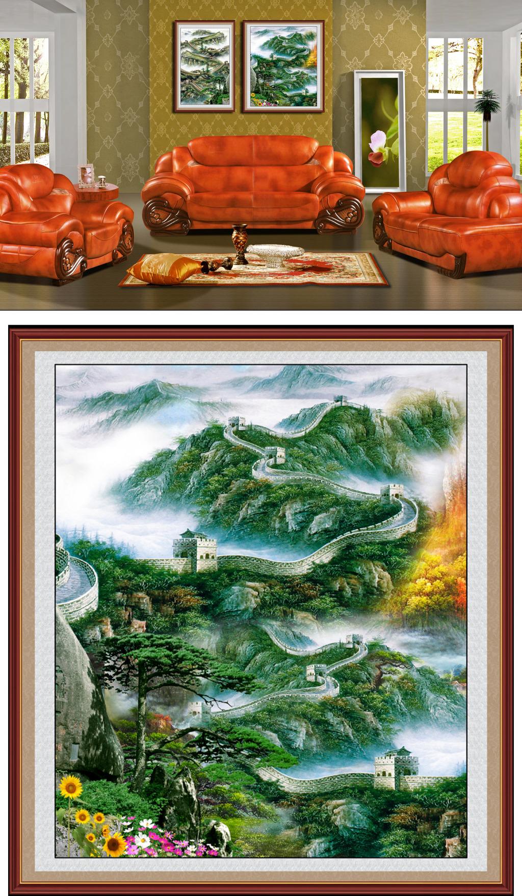 油画风景万里长城