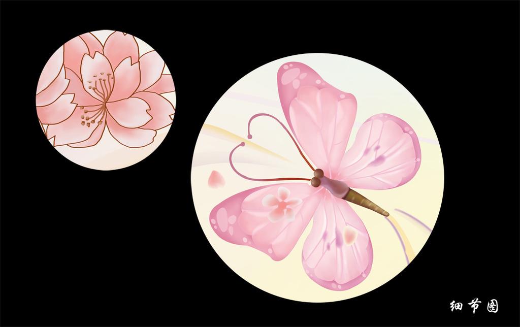 粉色梦幻手绘蝴蝶电视背景墙