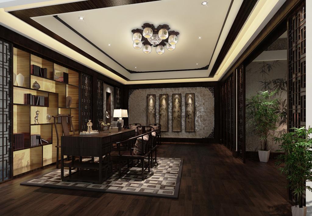 中式书房室内设计效果图片