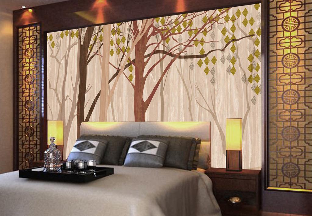 手绘抽象树林树木现代简约时尚电视背景墙