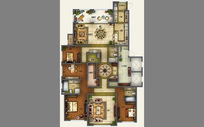 室内设计 户型图 三居室 > 欧式经典三室一厅矢量户型图